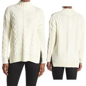 BB Dakota Turtle Neck Cable Knit Sweater Ivory NWT